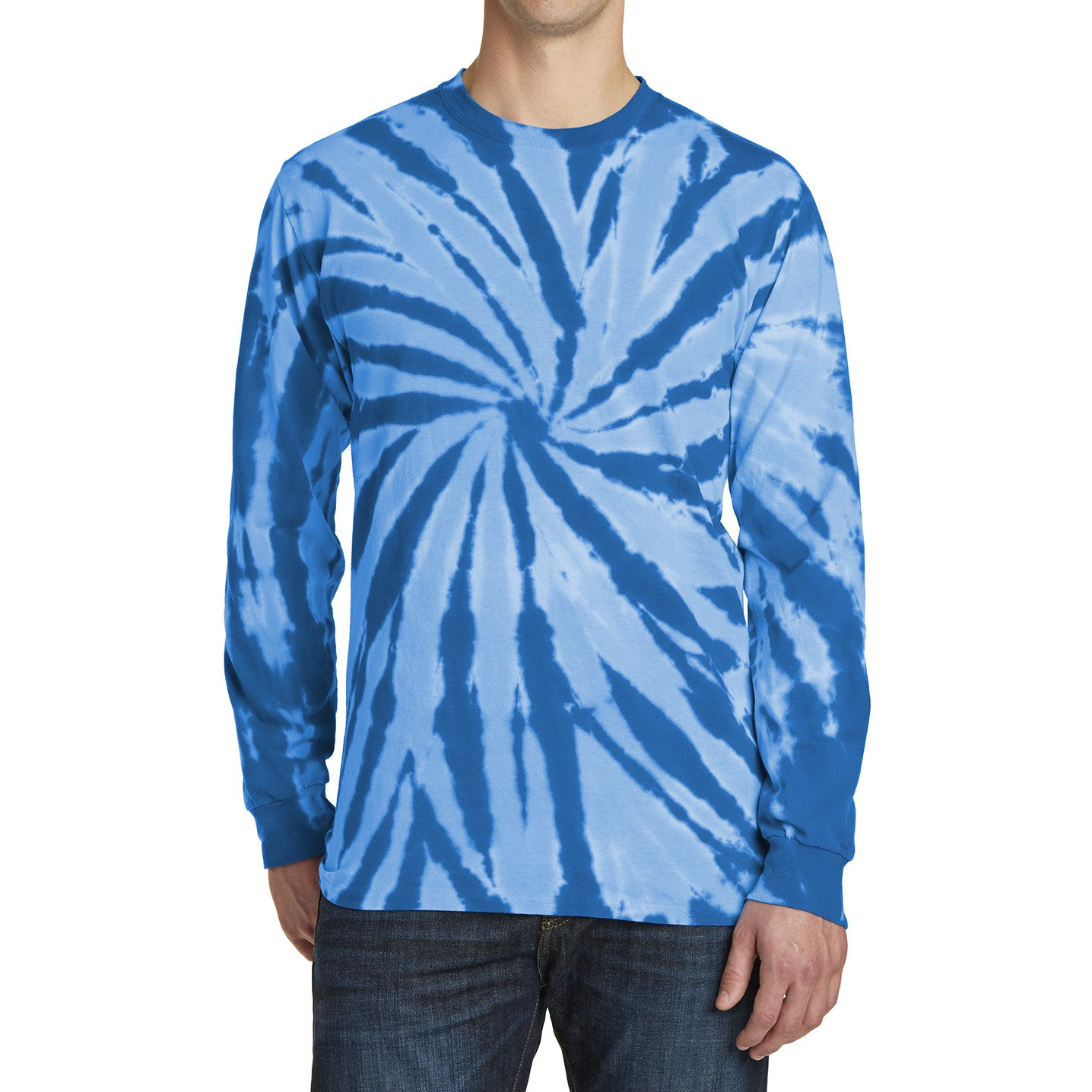 Men's Tie-Dye Long Sleeve Tee - Royal - Front