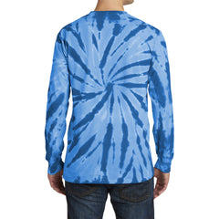 Men's Tie-Dye Long Sleeve Tee - Royal - Back