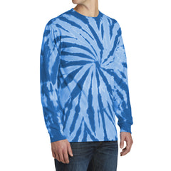 Men's Tie-Dye Long Sleeve Tee - Royal - Side