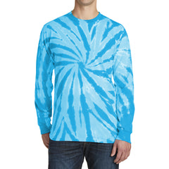 Men's Tie-Dye Long Sleeve Tee - Turquoise - Front