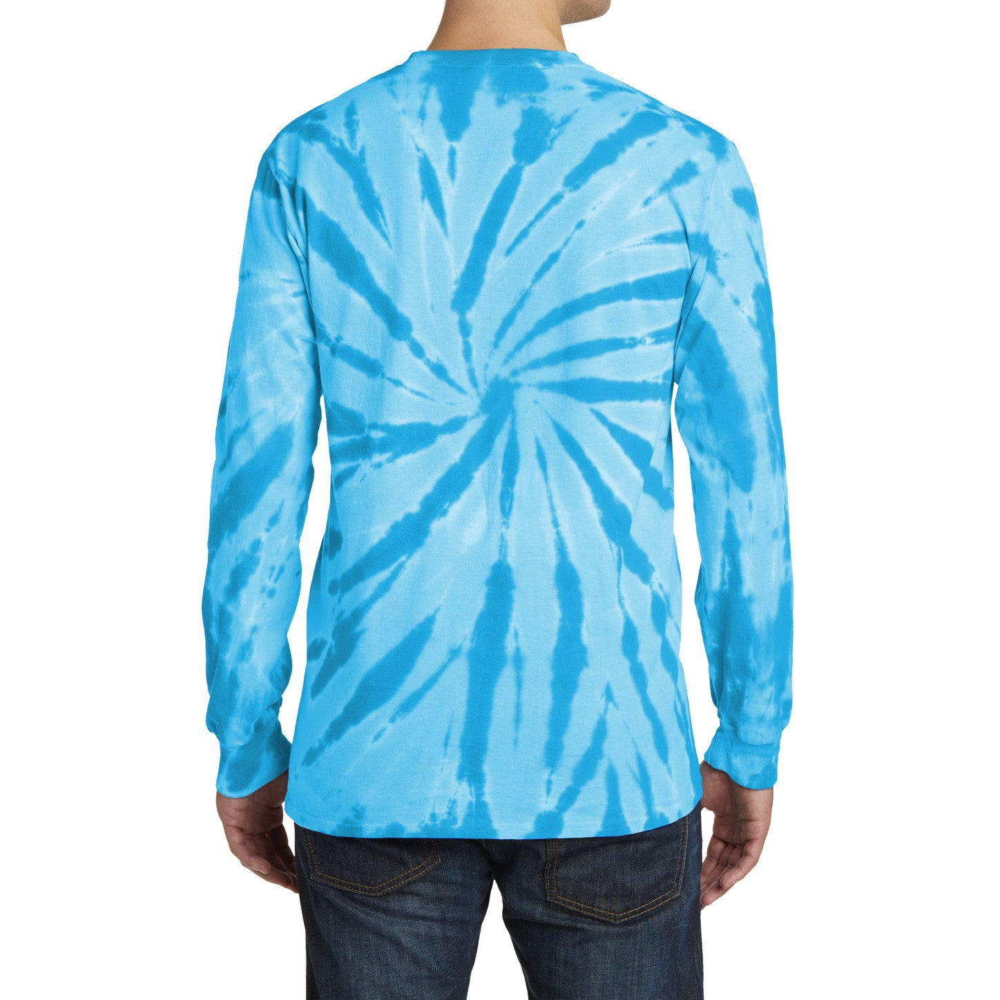 Men's Tie-Dye Long Sleeve Tee - Turquoise - Back