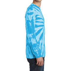 Men's Tie-Dye Long Sleeve Tee - Turquoise - Side