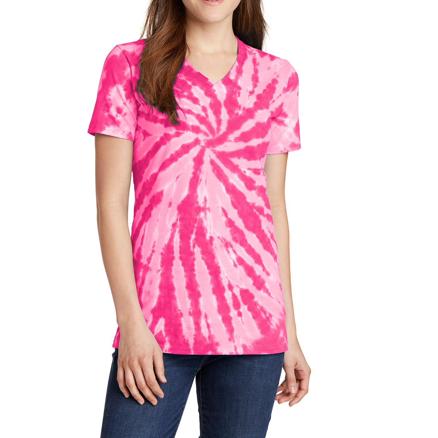 Womens Tie-Dye V-Neck Tee -  Pink - Front