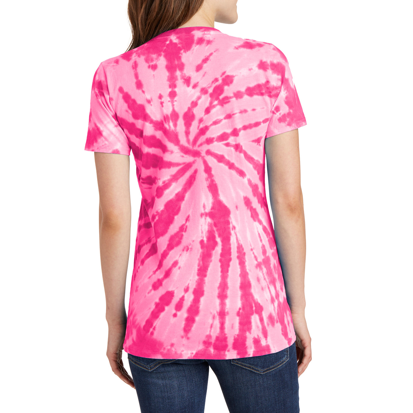 Womens Tie-Dye V-Neck Tee -  Pink - Back