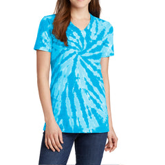Womens Tie-Dye V-Neck Tee - Turquoise - Front