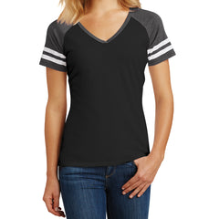 Womens Game V-Neck Tee - Black/Heathered Charcoal - Front