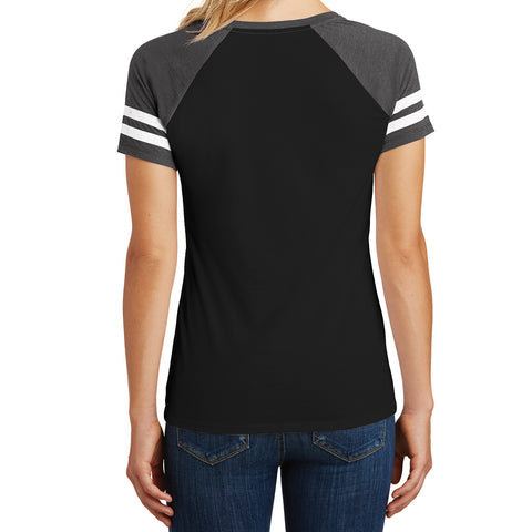 Womens Game V-Neck Tee - Black/Heathered Charcoal - Back