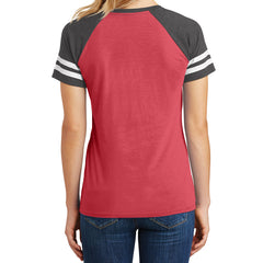 Womens Game V-Neck Tee - Heathered Red/Heathered Charcoal - Back