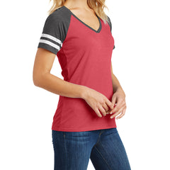 Womens Game V-Neck Tee - Heathered Red/Heathered Charcoal - Side