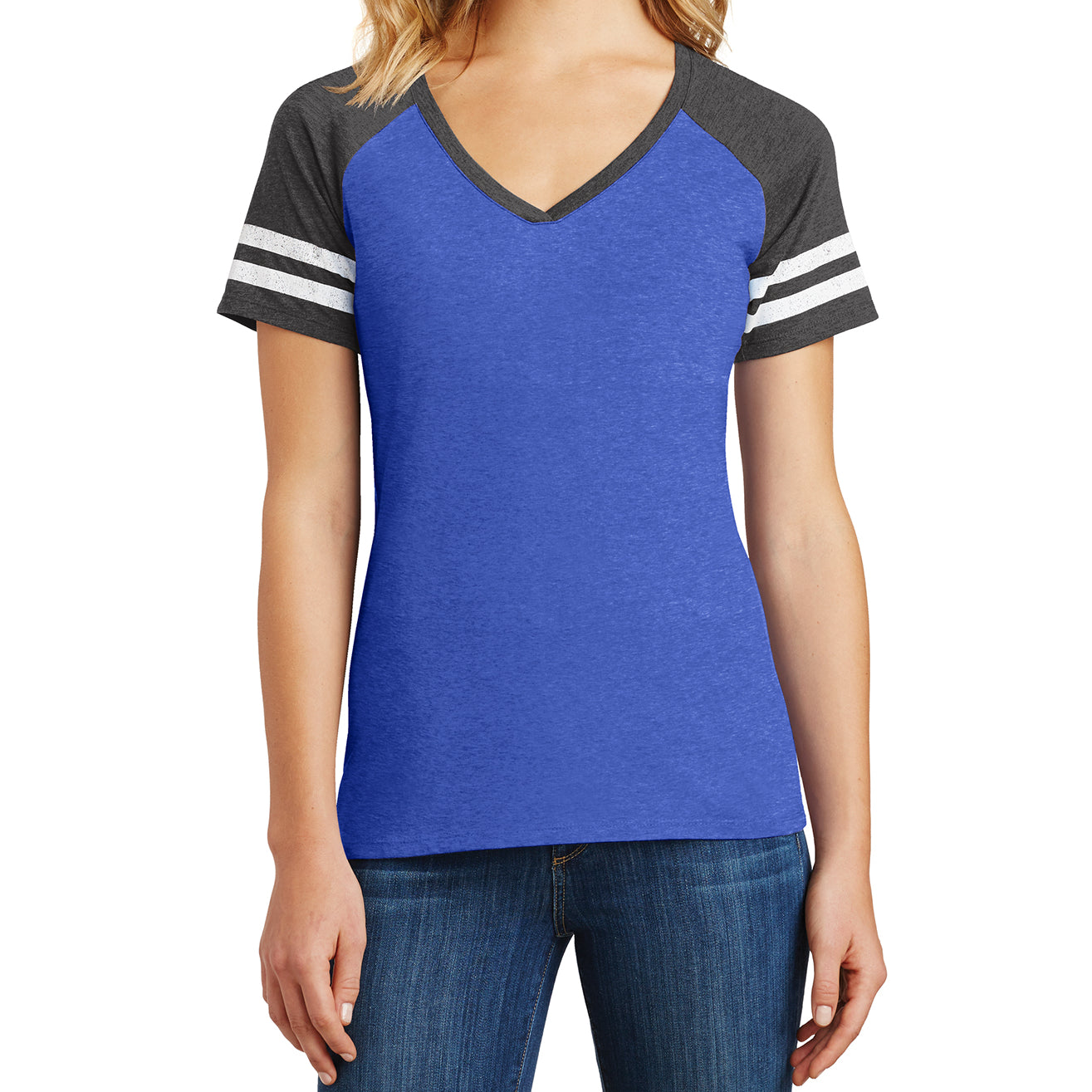 Womens Game V-Neck Tee - Heathered True Royal/Heathered Charcoal - Front