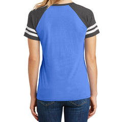 Womens Game V-Neck Tee - Heathered True Royal/Heathered Charcoal - Back