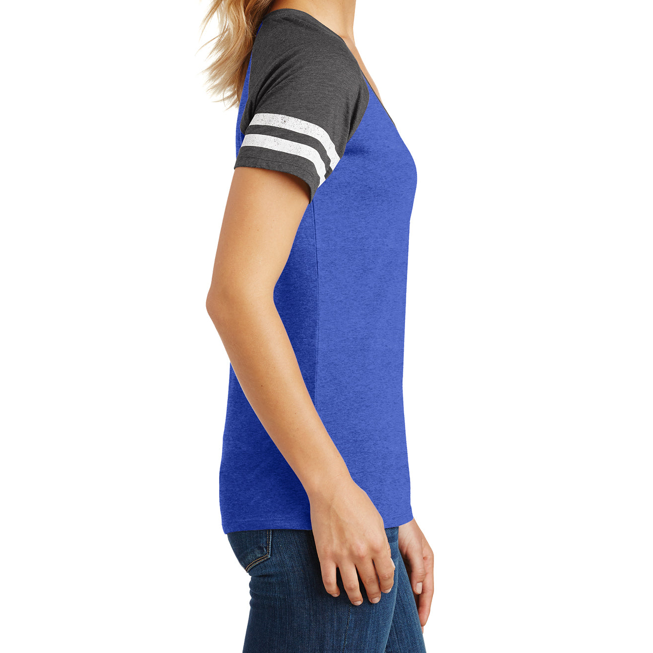 Womens Game V-Neck Tee - Heathered True Royal/Heathered Charcoal - Side