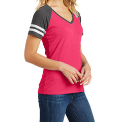 Womens Game V-Neck Tee - Heathered Watermelon/Heathered Charcoal - Side