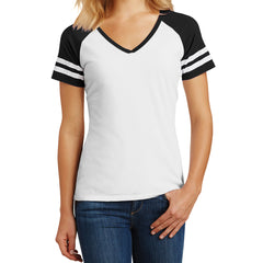 Womens Game V-Neck Tee - White/Black - Front