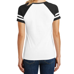 Womens Game V-Neck Tee - White/Black - Back