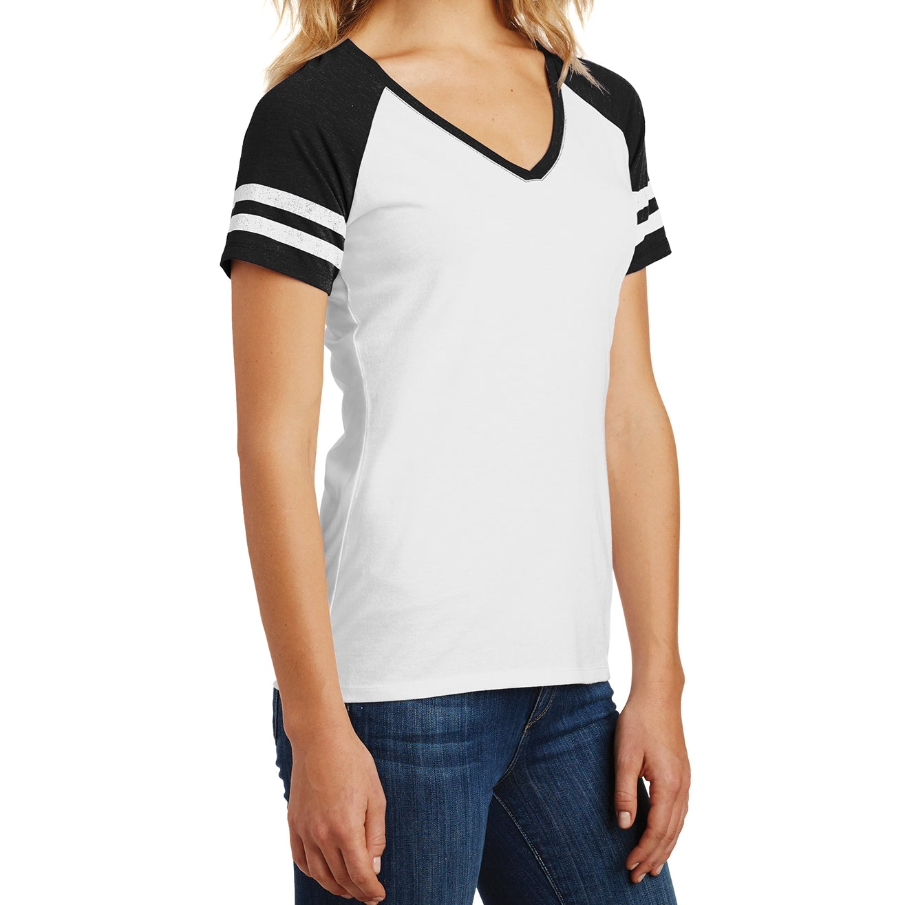 Womens Game V-Neck Tee - White/Black - Side