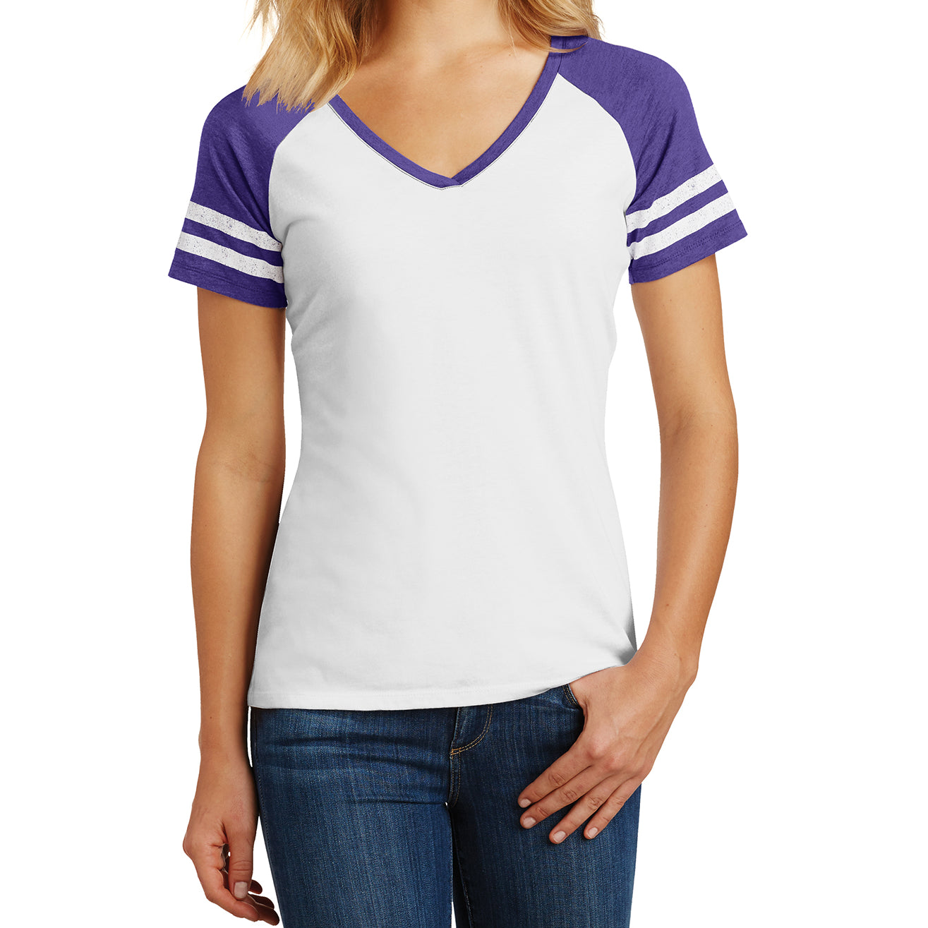 Womens Game V-Neck Tee - White/Heathered Purple - Front