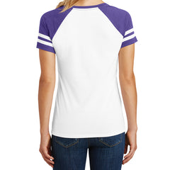 Womens Game V-Neck Tee - White/Heathered Purple - Back