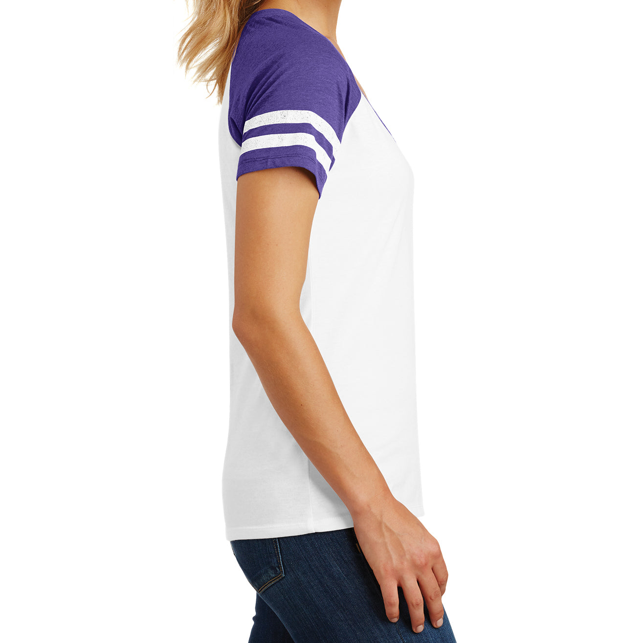 Womens Game V-Neck Tee - White/Heathered Purple - Side