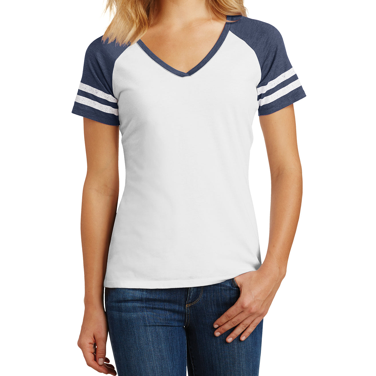 Womens Game V-Neck Tee - White/Heathered True Navy - Front
