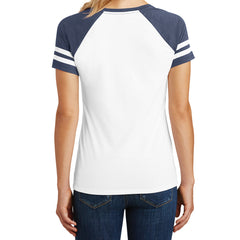 Womens Game V-Neck Tee - White/Heathered True Navy - Back