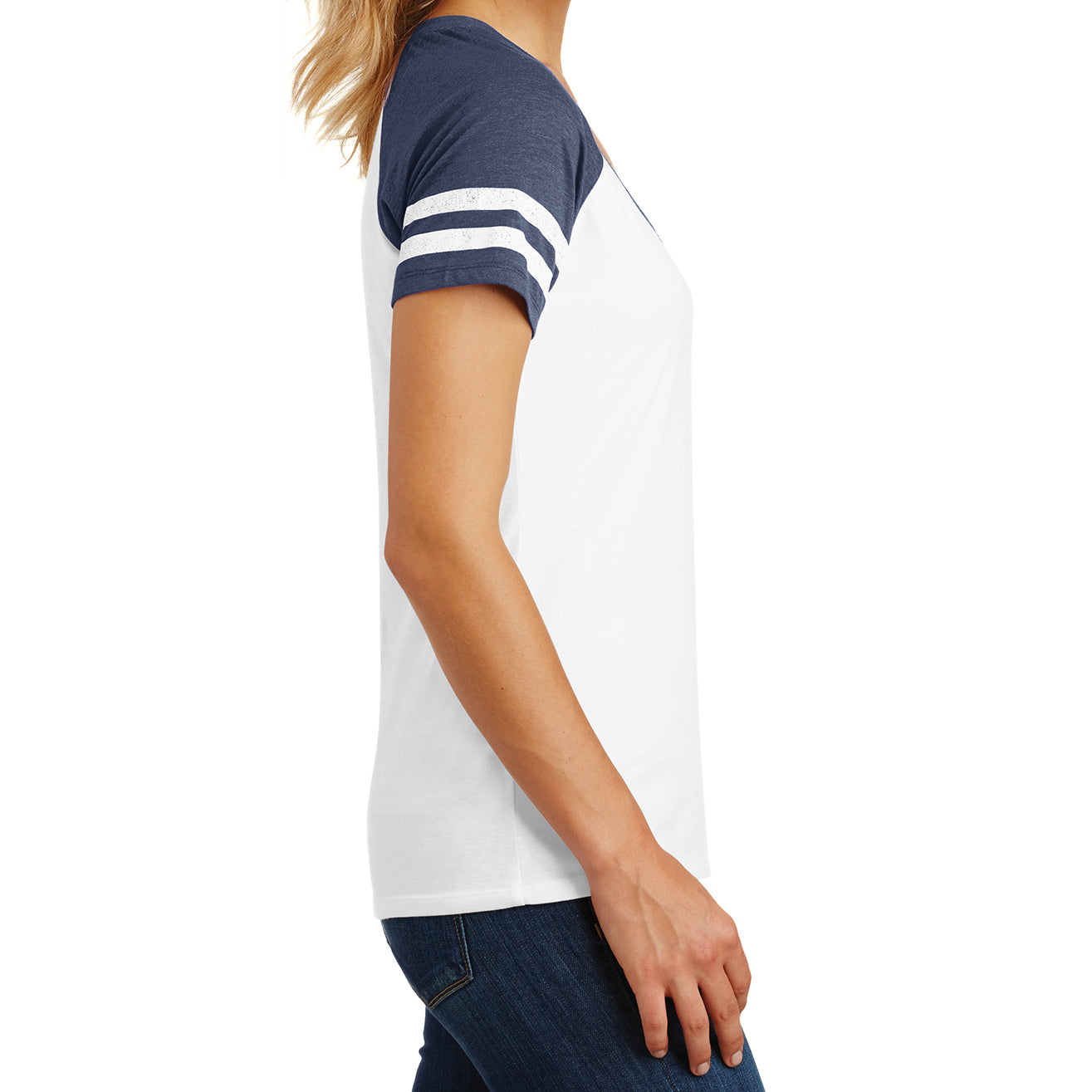 Womens Game V-Neck Tee - White/Heathered True Navy - Side