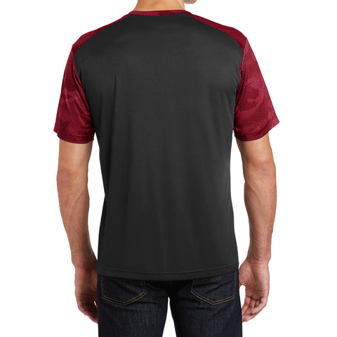 Men's CamoHex Colorblock Tee Shirt Black/ Deep Red Back