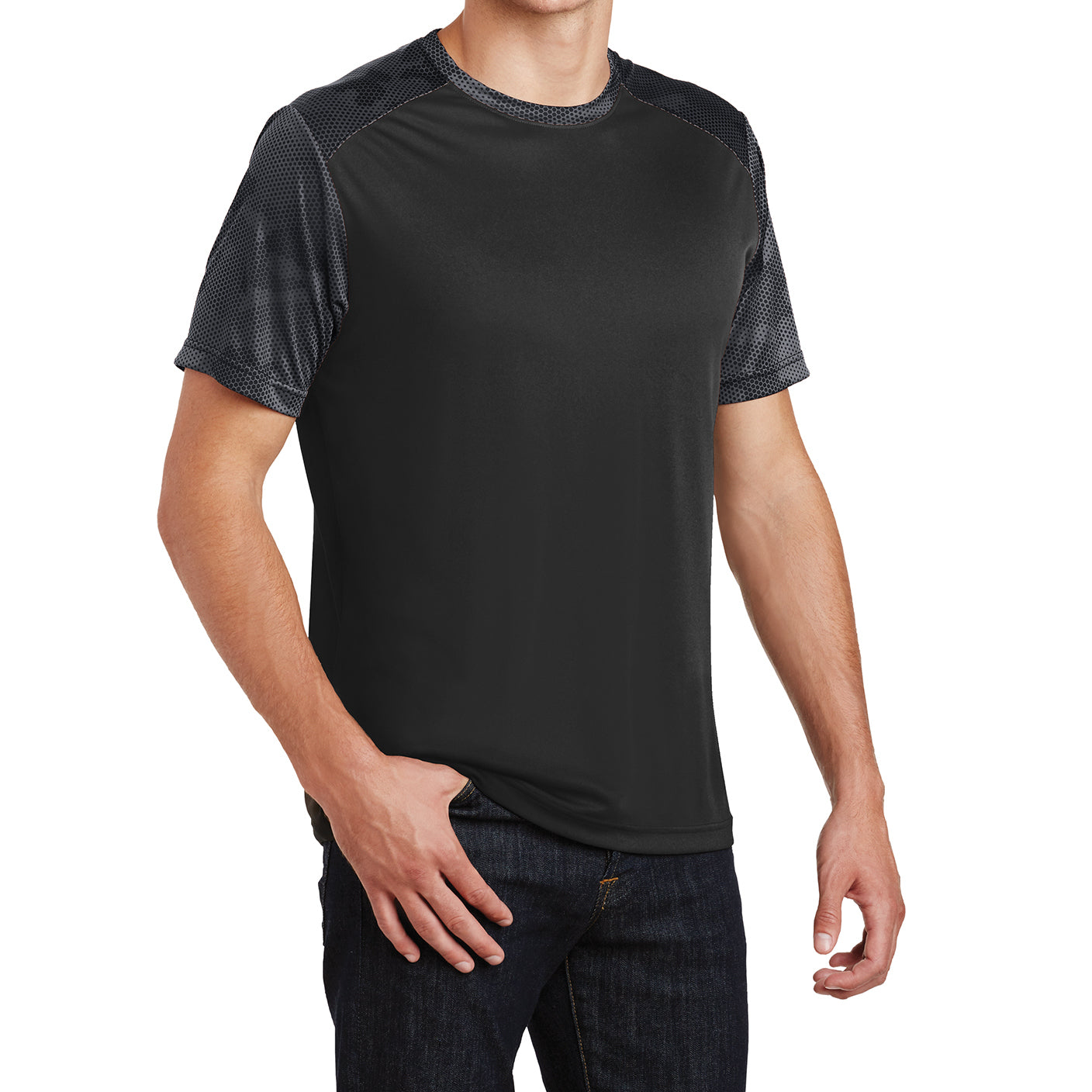 Men's CamoHex Colorblock Tee Shirt Black/ Iron Grey Side
