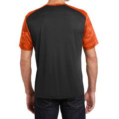 Men's CamoHex Colorblock Tee Shirt Black/ Neon Orange Back