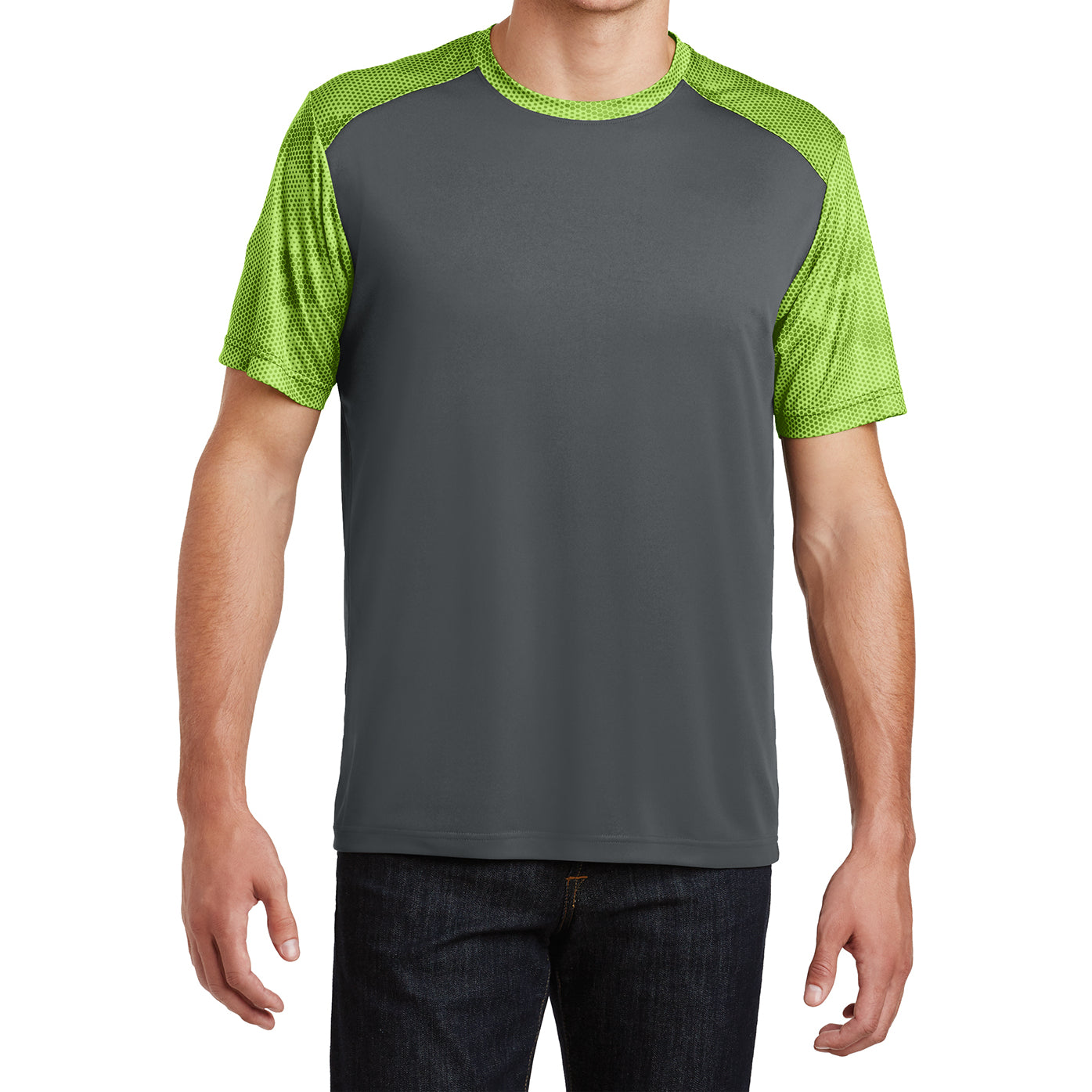 Men's CamoHex Colorblock Tee Shirt Iron Grey/ Lime Shock Front