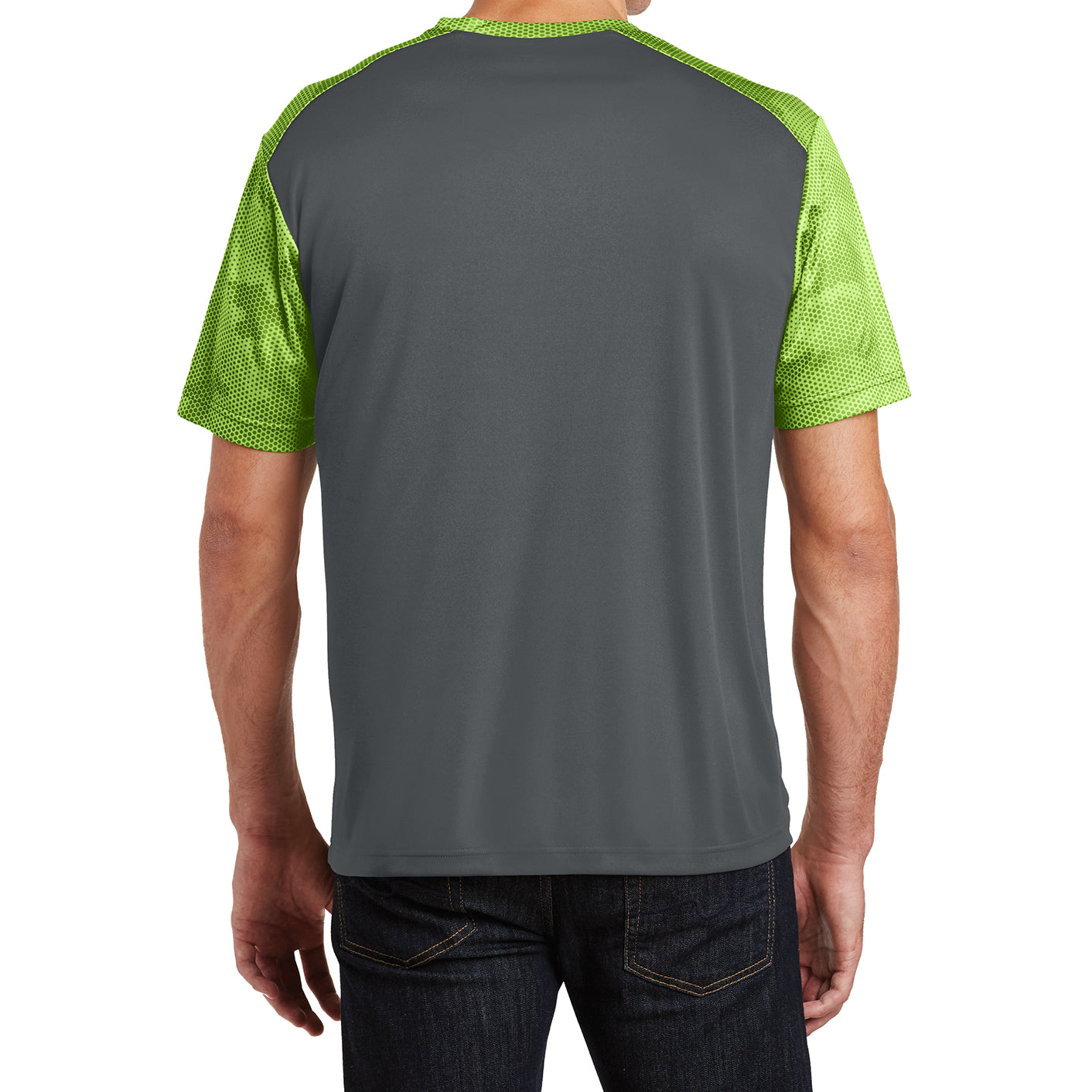Men's CamoHex Colorblock Tee Shirt Iron Grey/ Lime Shock Back