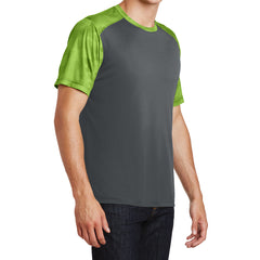 Men's CamoHex Colorblock Tee Shirt Iron Grey/ Lime Shock Side