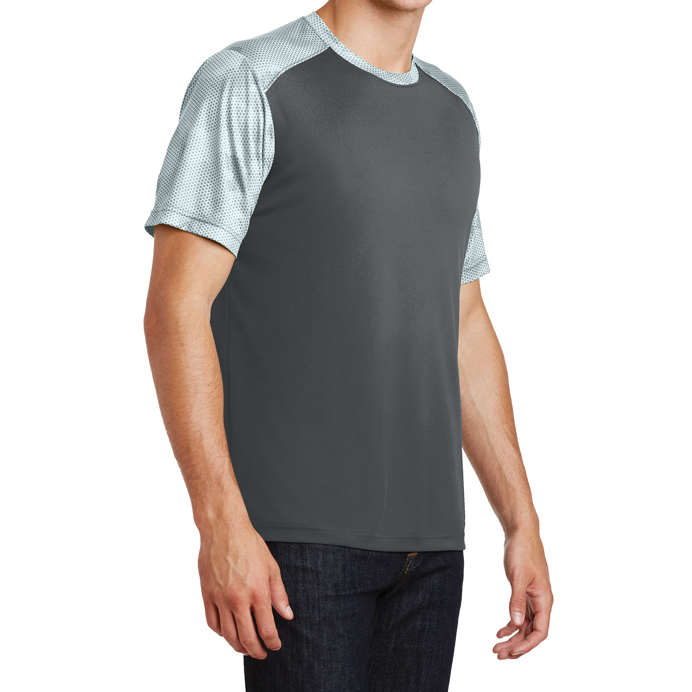 Men's CamoHex Colorblock Tee Shirt Iron Grey/ White Side