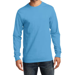 Men's Long Sleeve Essential Tee - Aquatic Blue - Front