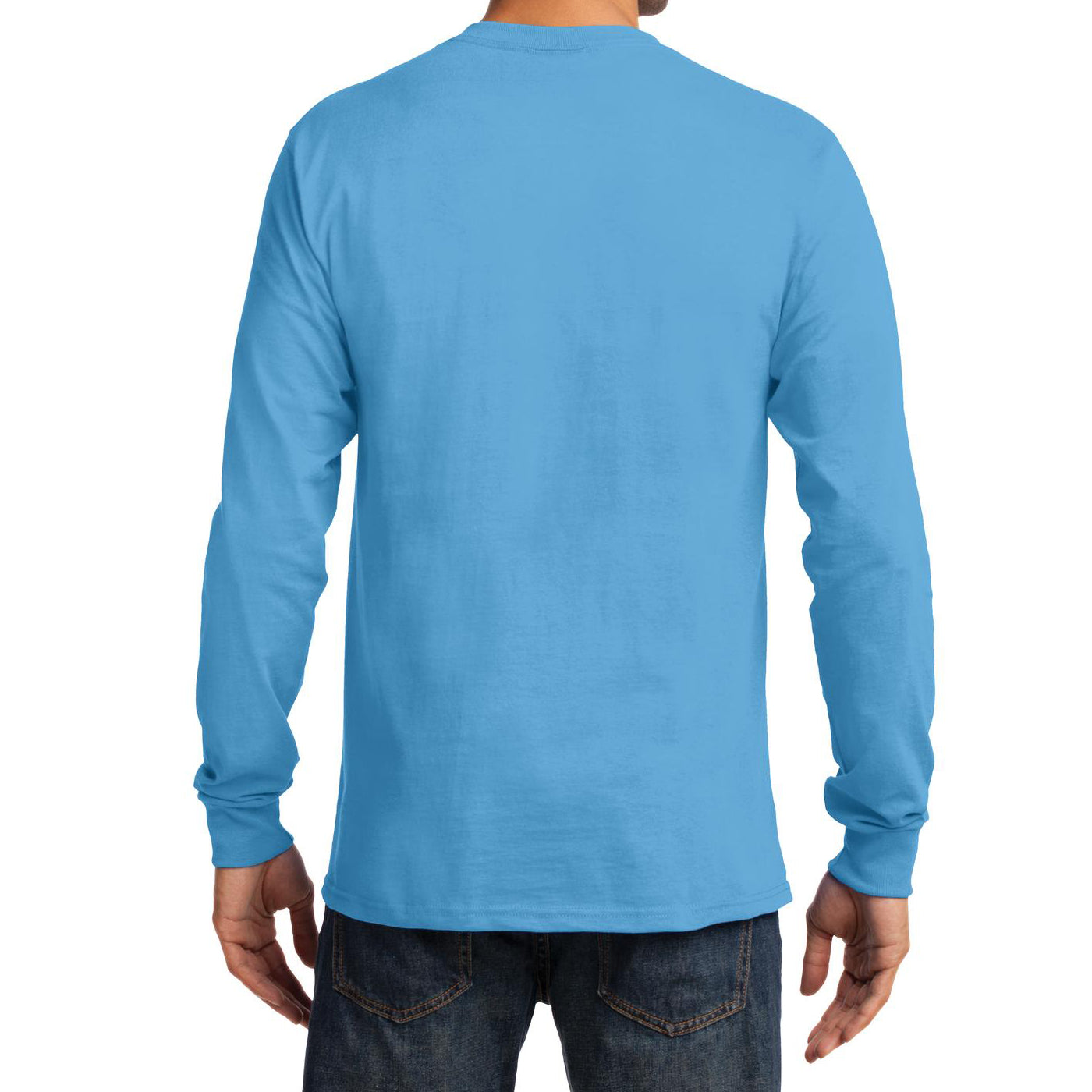 Men's Long Sleeve Essential Tee - Aquatic Blue - Back