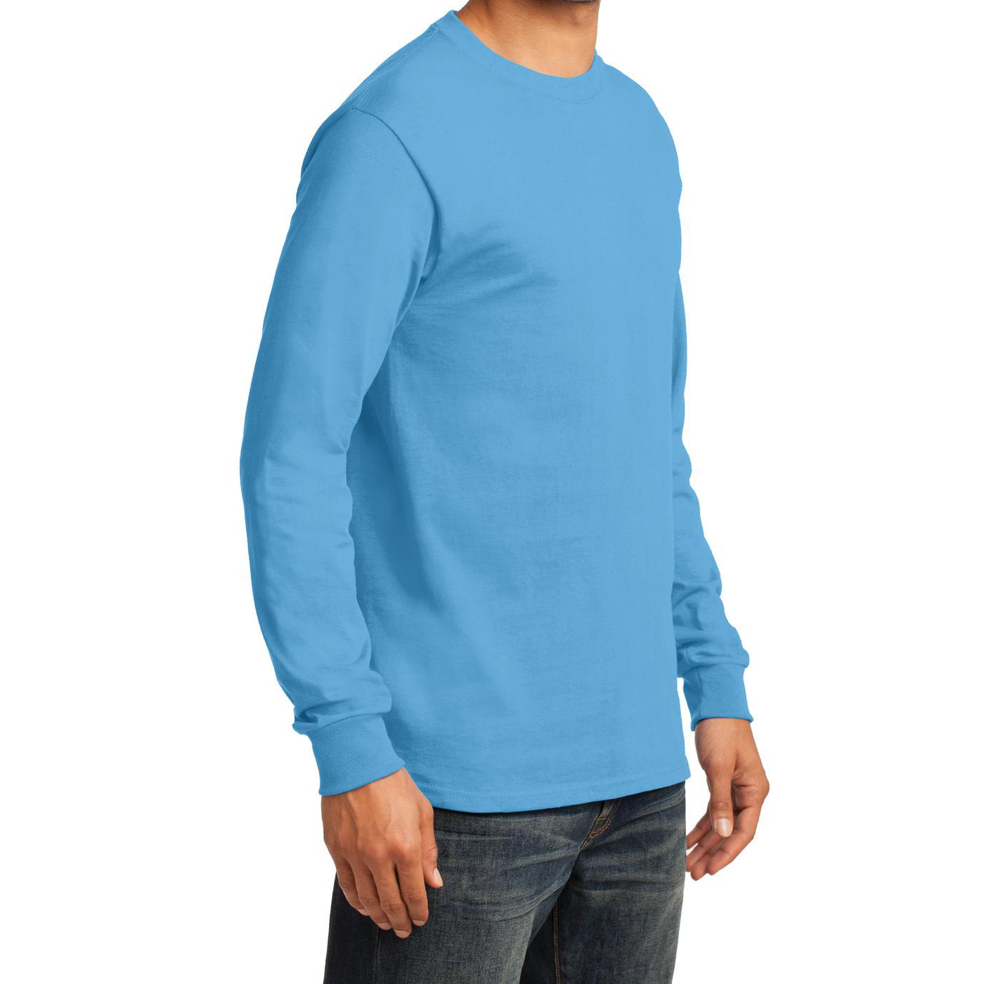 Men's Long Sleeve Essential Tee - Aquatic Blue - Side