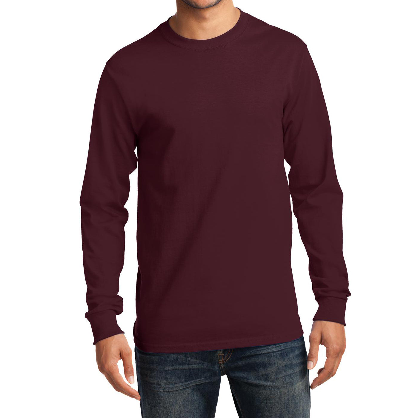 Men's Long Sleeve Essential Tee - Athletic Maroon - Front