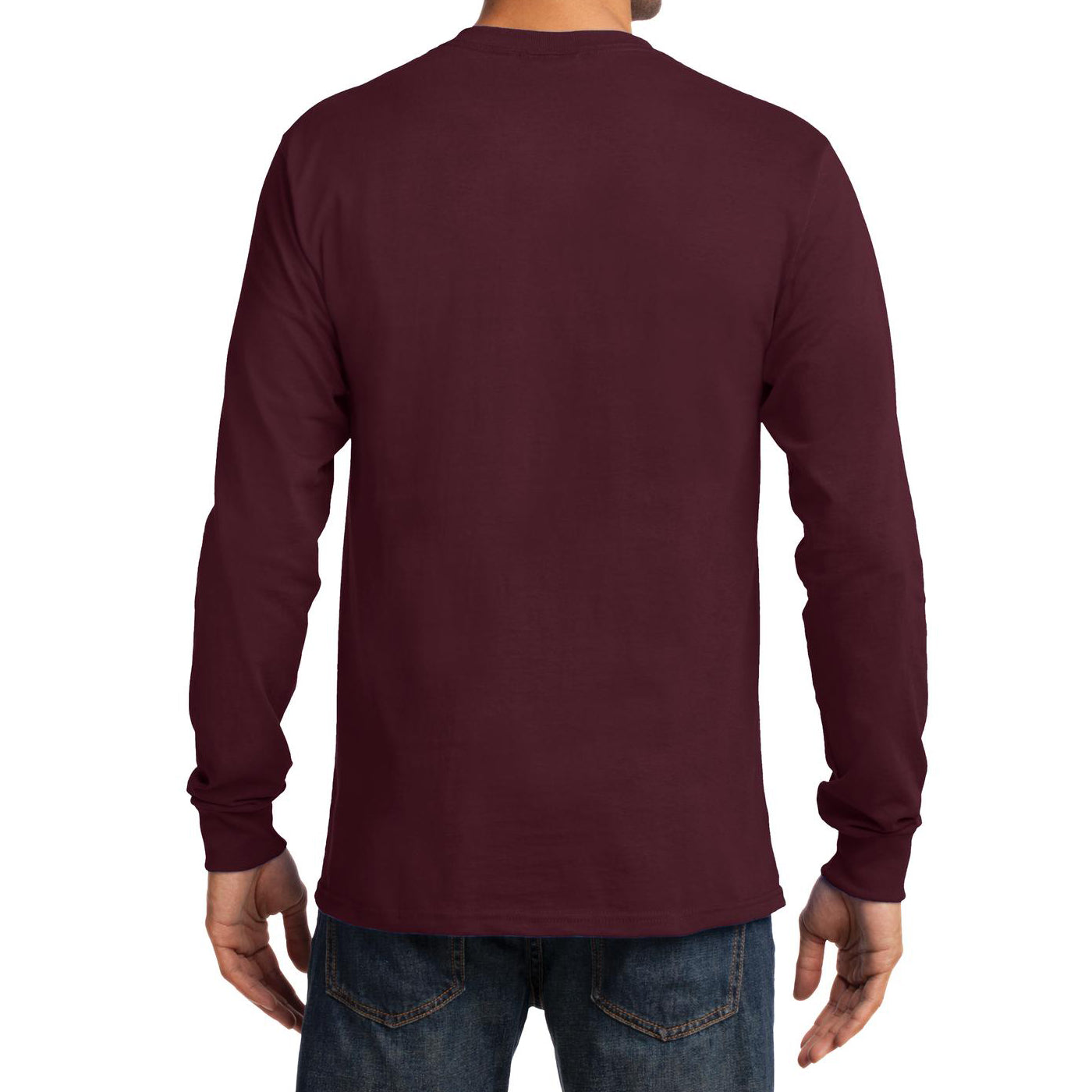 Men's Long Sleeve Essential Tee - Athletic Maroon - Back