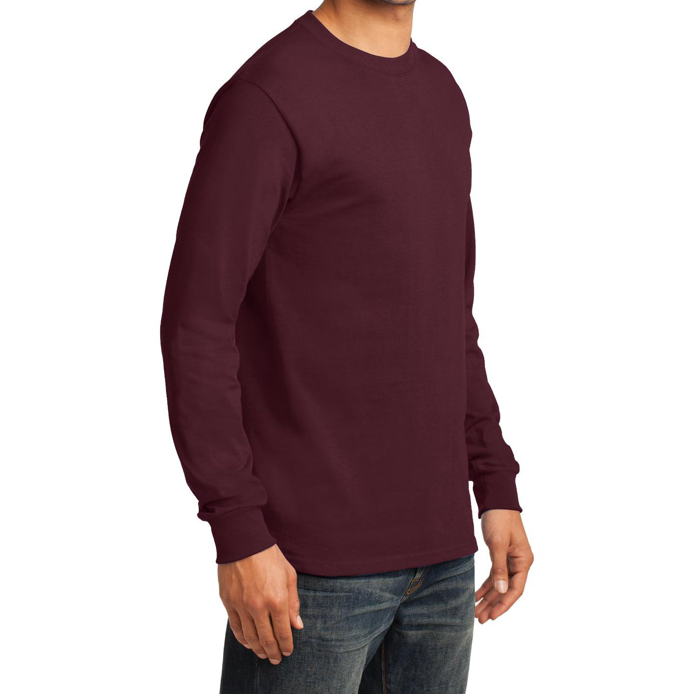Men's Long Sleeve Essential Tee - Athletic Maroon - Side