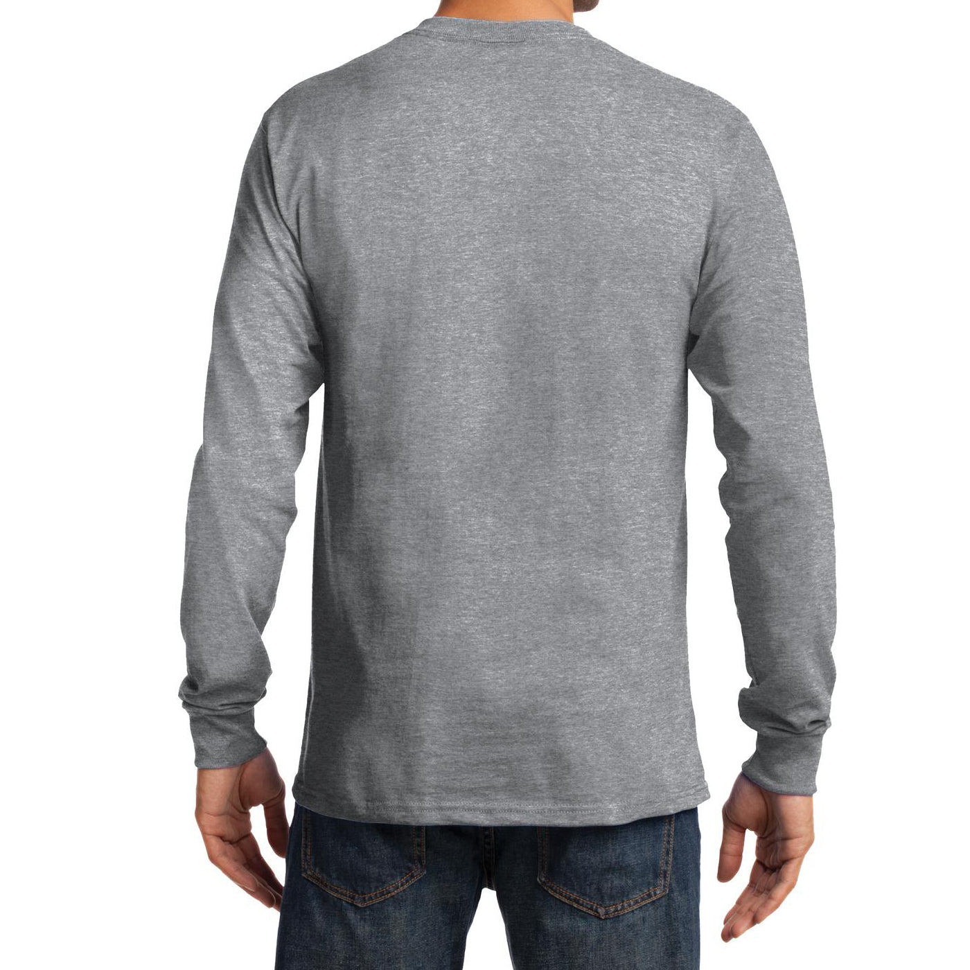 Men's Long Sleeve Essential Tee - Athletic Heather - Back