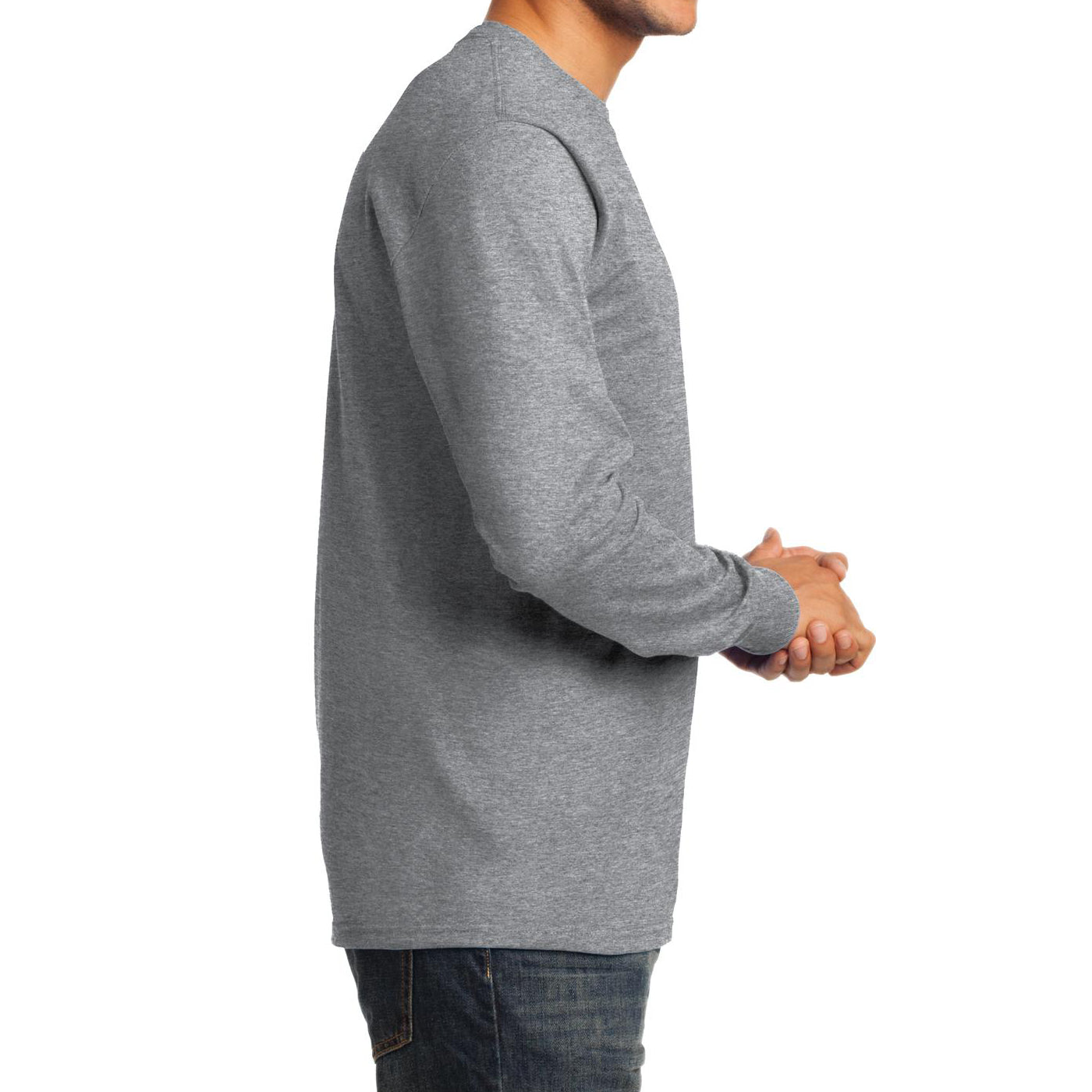 Men's Long Sleeve Essential Tee - Athletic Heather - Side