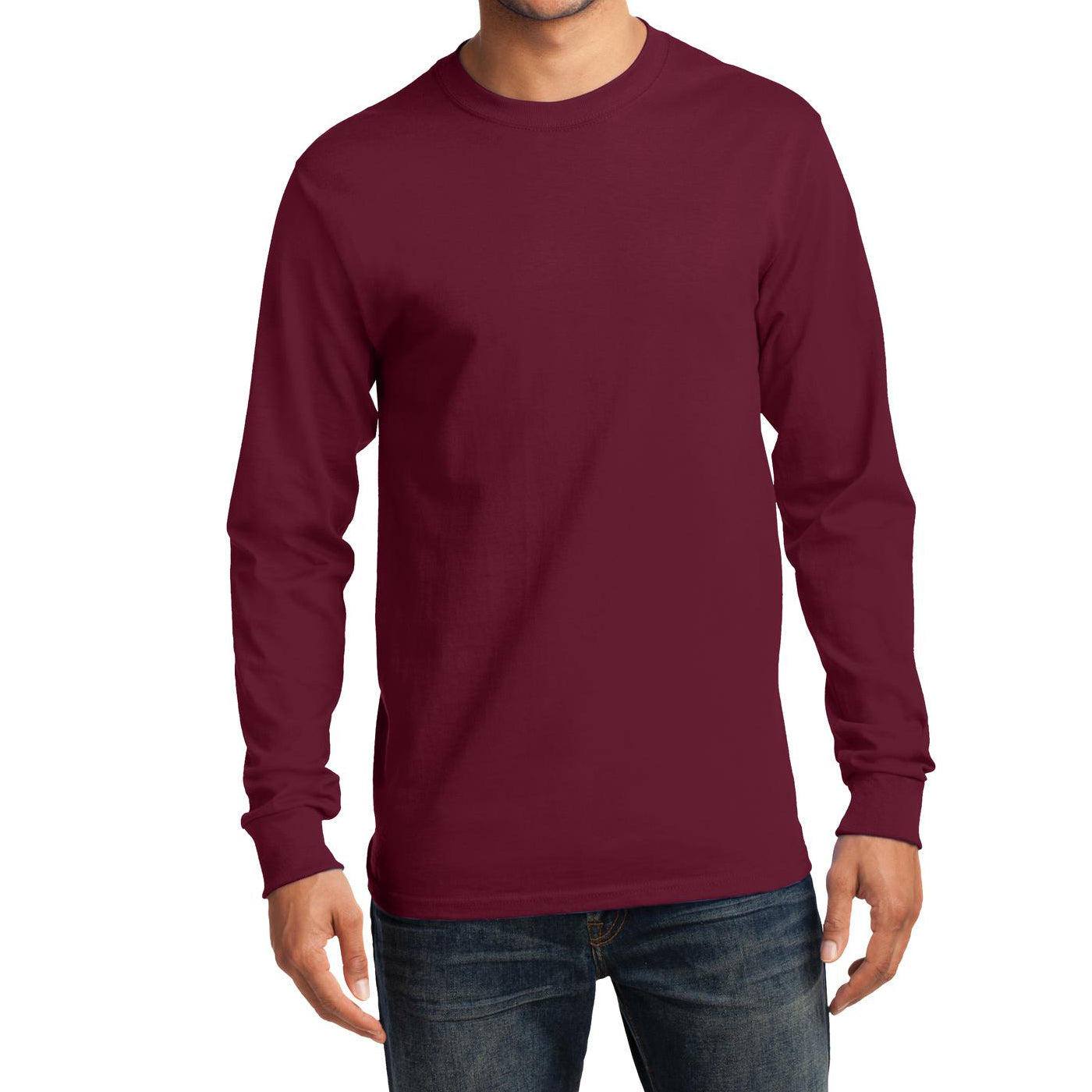 Men's Long Sleeve Essential Tee - Cardinal - Front