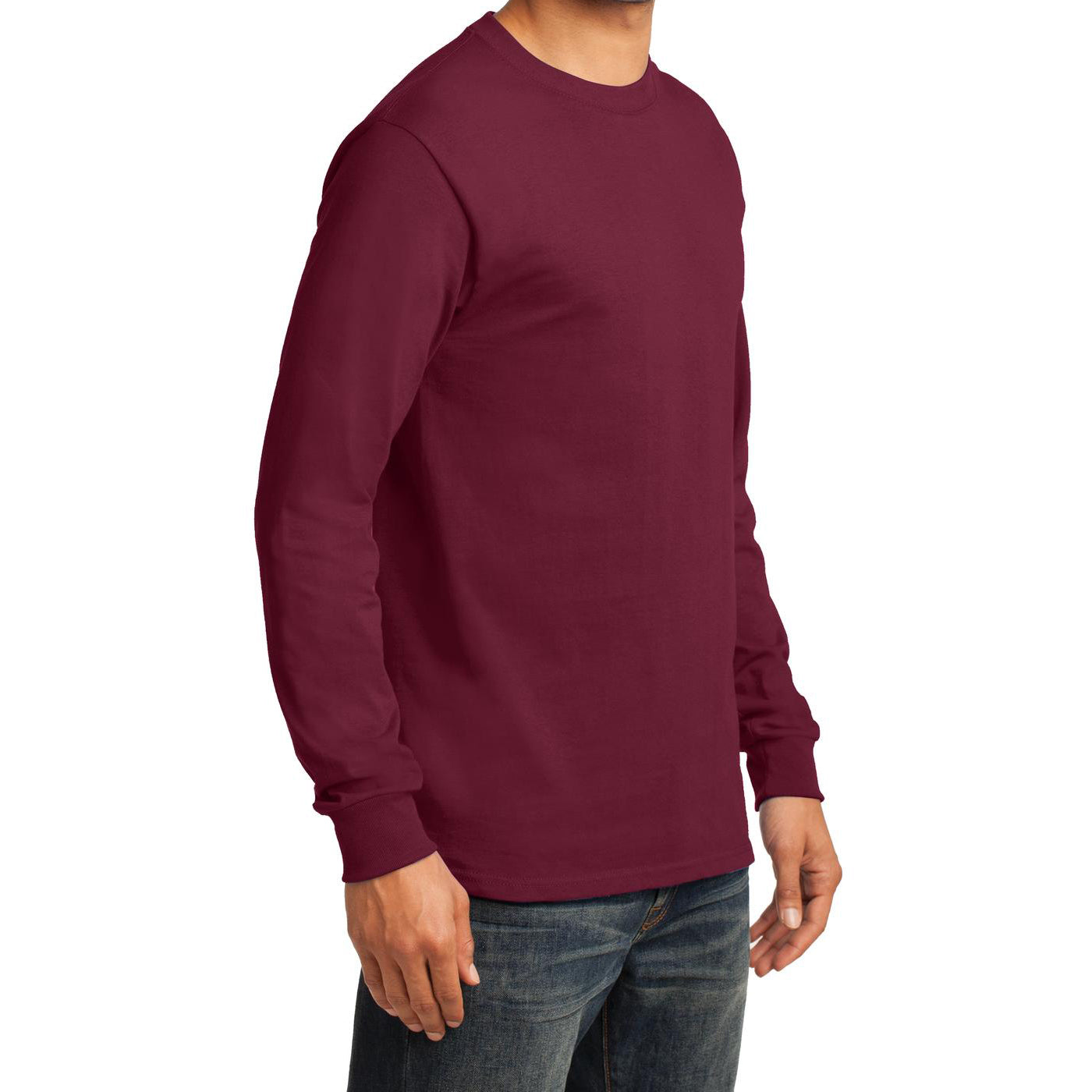 Men's Long Sleeve Essential Tee - Cardinal - Side