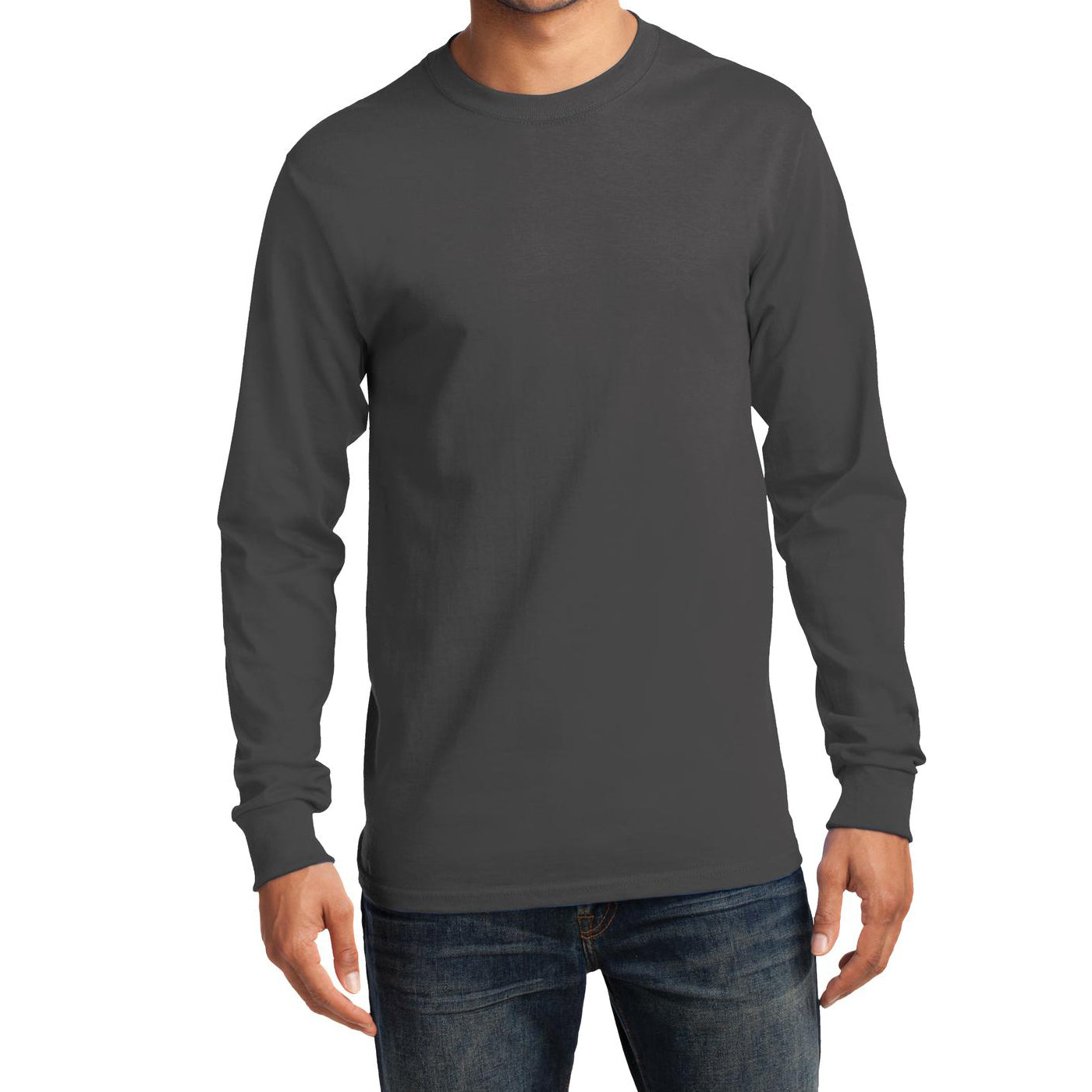 Men's Long Sleeve Essential Tee - Charcoal - Front