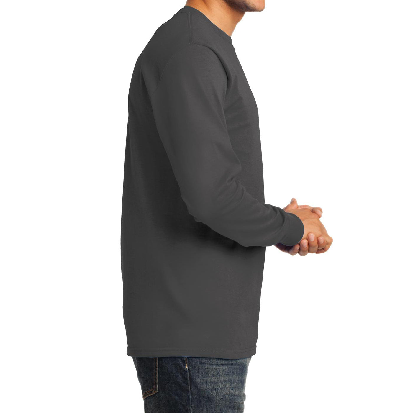 Men's Long Sleeve Essential Tee - Charcoal - Side