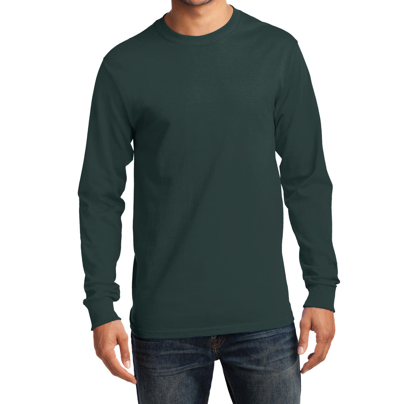 Men's Long Sleeve Essential Tee - Dark Green - Front