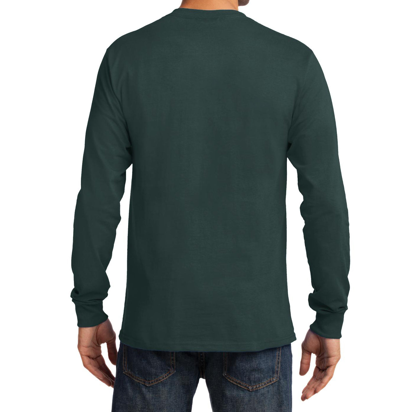 Men's Long Sleeve Essential Tee - Dark Green - Back