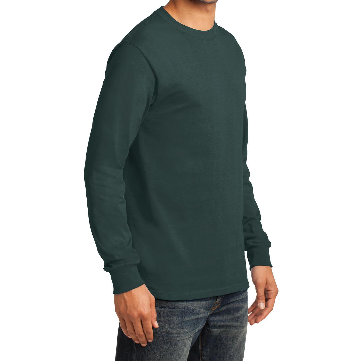 Men's Long Sleeve Essential Tee - Dark Green - Side