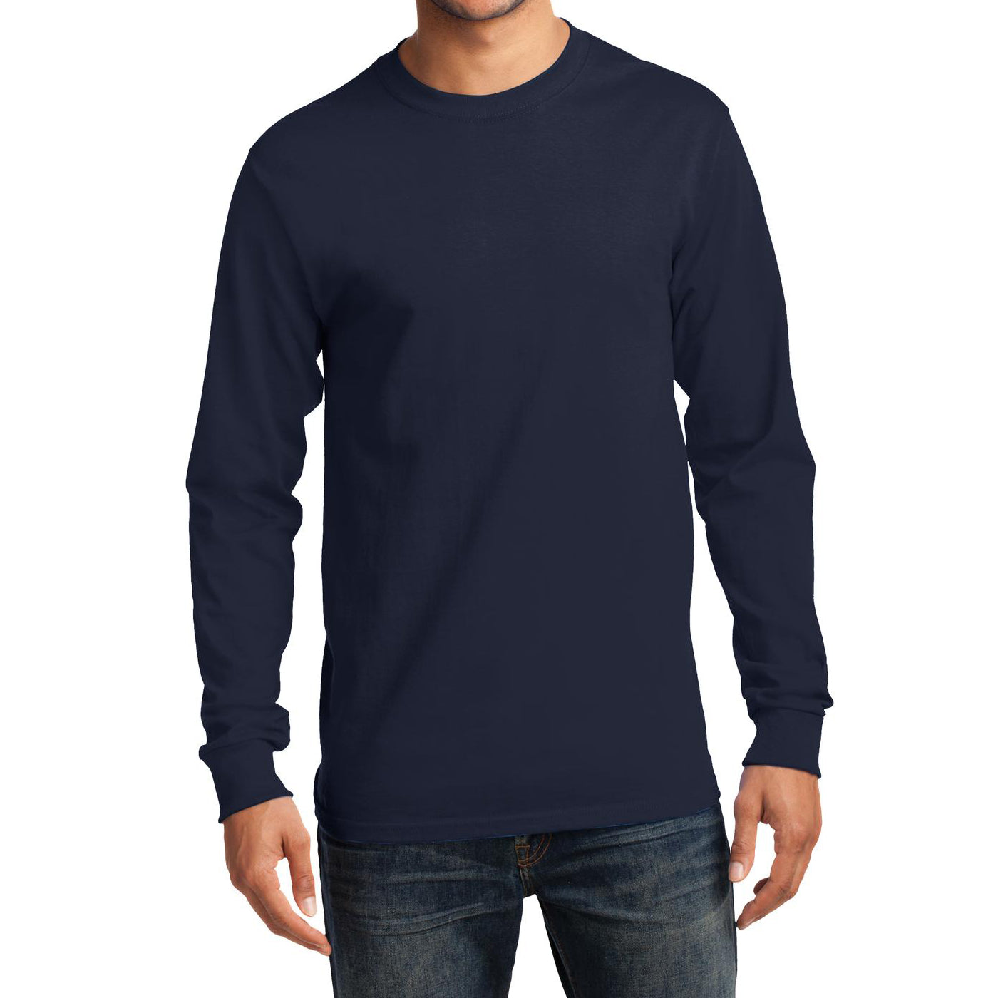 Men's Long Sleeve Essential Tee - Deep Navy - Front
