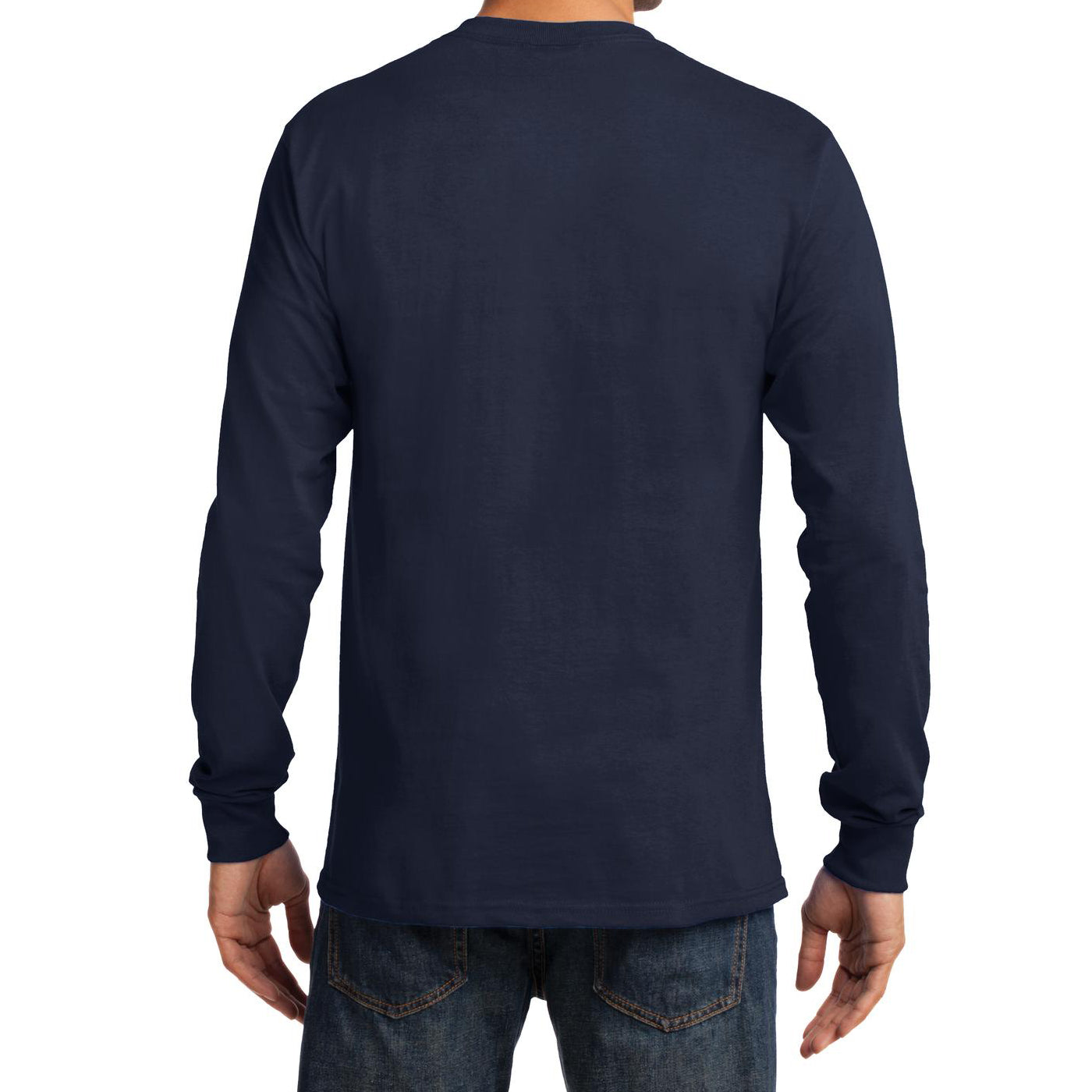 Men's Long Sleeve Essential Tee - Deep Navy - Back